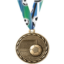 Soccer Medal with Neck Ribbon