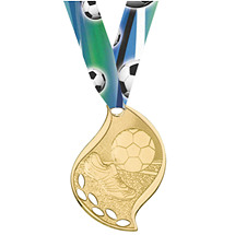 Modern Gold Soccer Medal with Neck Ribbon