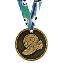 3D Soccer Medal with Neck Ribbon