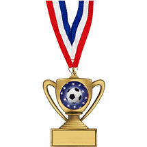 Soccer Medal - Trophy-Shape Soccer Medal with FREE  Red, White and Blue Neck Ribbon