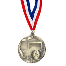 "Soccer Medals - 2 1/4"" Antique Gold Soccer Medal with Neck Ribbon"