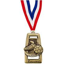 Soccer Medal - Antique Gold Rectangular Soccer Medal
