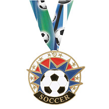 Soccer Medal - Colorful Soccer Medal with Neck Ribbon