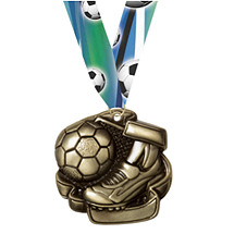 Soccer Medals - Antique Gold Soccer Medal - FREE Ribbon