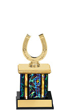 "9"" Dazzling Black Trophy with Rectangular Column"