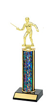 "10-12"" Dazzling Black Round Column Trophy"