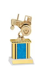 """Holographic Blue Trophy with Rectangular Column - 9"""""""