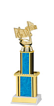 """Holographic Blue Trophy with Twin Column - 12"""""""