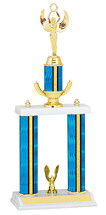 "18-20"" Blue Trophy with Double Column Base"