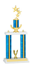 """18-20"""" Blue Trophy with Double Column Base"""