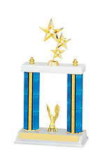 "13-15"" Blue Trophy with Double Columns"