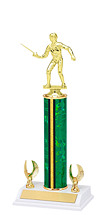 "12-14"" Green and Gold Trophy with 2 Eagle Base"