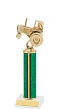 "10-12"" Green and Gold Trophy with Round Column"
