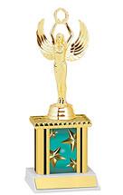 "9"" Teal Star Trophy with Rectangular Column"