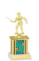 "9"" Teal Star Trophy with Rectangular Column"