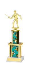 """12"""" Teal Star Trophy with Twin Column"""
