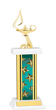 "12-14"" Rectangular Teal Star Trophy"