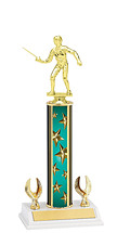 """12-14"""" Teal Stars Trophy with 2 Eagle Base"""