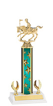 "12-14"" Teal Stars Trophy with 2 Eagle Base"
