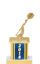 2018 Blue Trophy with Rectangular Column - 9""