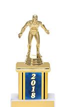 "2018 Blue Trophy with Rectangular Column - 9"""