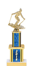 """2018 Blue Trophy with Twin Column - 12"""""""