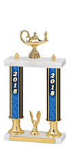 "15-17"" 2018 Dated Gold Double Column Trophy"