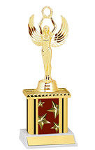"9"" Maroon Star Trophy with Rectangular Column"