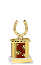 "9"" Maroon Star Trophy with Rectangular Column"