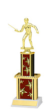 "12"" Maroon Star Trophy with Twin Column"