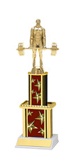 """12"""" Maroon Star Trophy with Twin Column"""