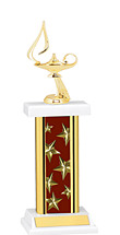 "12-14"" Rectangular Maroon Star Trophy"