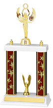 "13-15"" Maroon Star Trophy with Double Column Base"