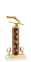 """12-14"""" Maroon Stars Trophy with 2 Eagle Base"""