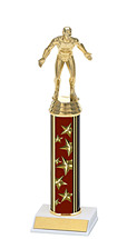 "10-12"" Maroon Star Trophy with Round Column"