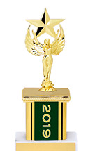 2019 Green Trophy with Rectangular Column - 9""