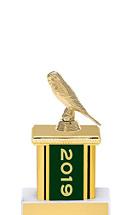 "2019 Green Trophy with Rectangular Column - 9"""