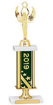 2019 Gold Dated Trophy with Rectangular Column - 14-16""