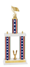 """18-20"""" Red, White and Blue Trophy with Double Column Base"""