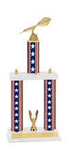 "18-20"" Red, White and Blue Trophy with Double Column Base"