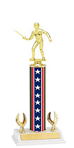 "12-14"" Red, White and Blue Trophy with 2 Eagle Base"