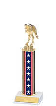 "10-12"" Red, White and Blue Trophy with Round Column"