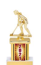 2021 Trophy with Rectangular Column - 9""