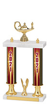 2021 Dated Gold Double Column Trophy - 15-17""