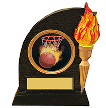 Black  Resin Trophy with Torch and Emblem