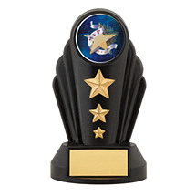 "7"" Silhouette Black Acrylic Triple Star Trophy"