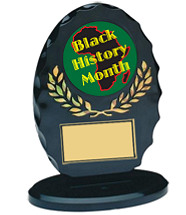 "5 1/4"" Silhouette Black Oval Acrylic Trophy"