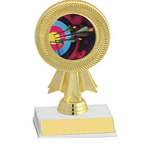 "6"" Gold Ribbon Trophy w/ Holographic Emblem"