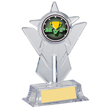 "6 1/2"" Holographic Clear Acrylic Emblem Holder Trophy"