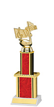 """Holographic Red Trophy with Twin Column - 12"""""""